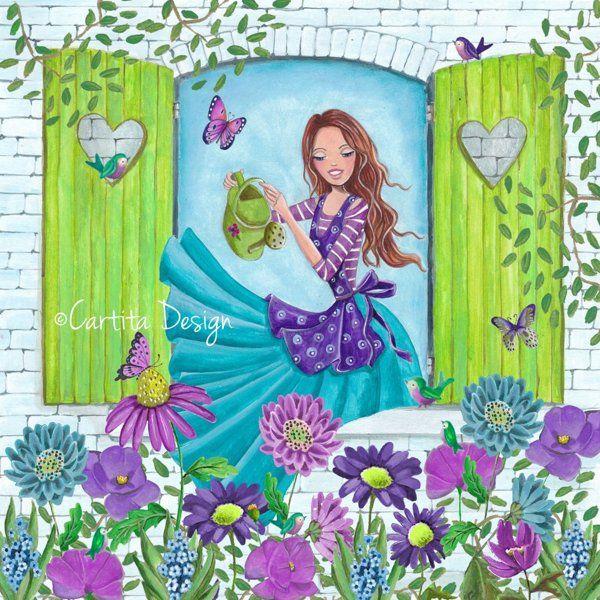 ©Cartita Design #illustration #girl #watering #plants #flowers #garden #spring #greetingcards #birds #butterflies