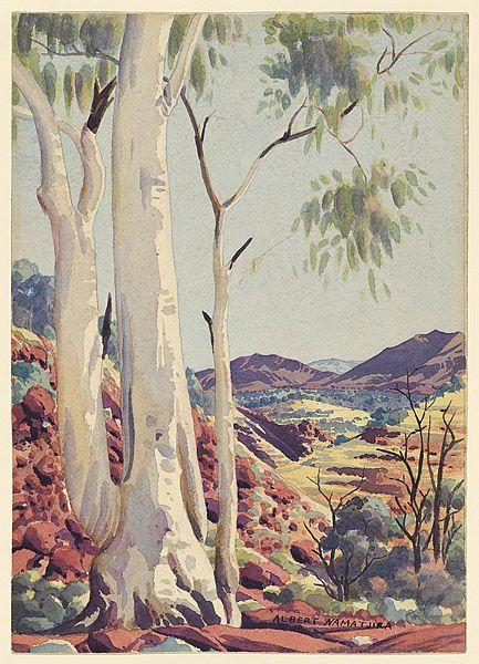 NAMATJIRA , Albert |1902-1959. Ghost gum. Albert Namatjira is one of the pivotal figures of Australian Art. Through his watercolours of Central Australia, he found a way to repair some of the damage long endured by Aboriginal Australia.