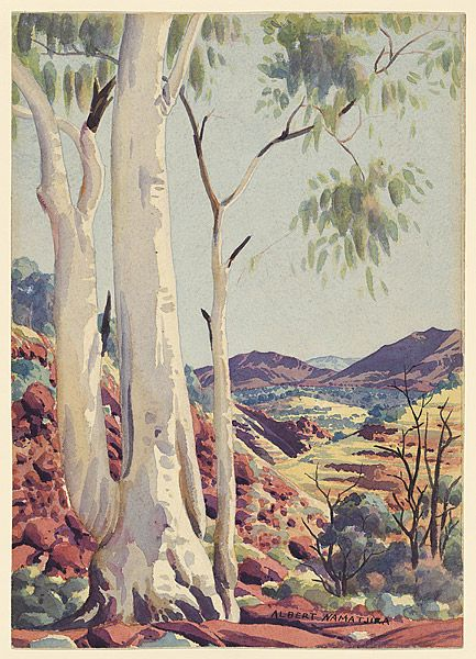 NAMATJIRA , Albert |1902-1959. Ghost gum. Albert Namatjira is one of the pivotal figures of Australian Art. Through his watercolours of Central Australia, he found a way to repair some of the damage long endured by Aboriginal Australia.