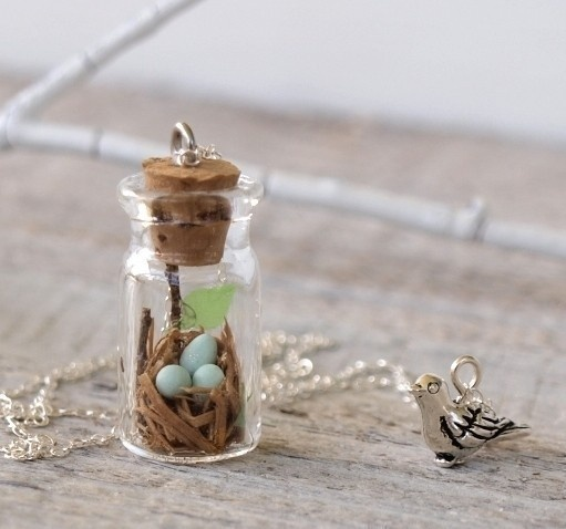 Tiny woodland terrarium robin's nest necklace // by Woodland Belle on Etsy $49.50