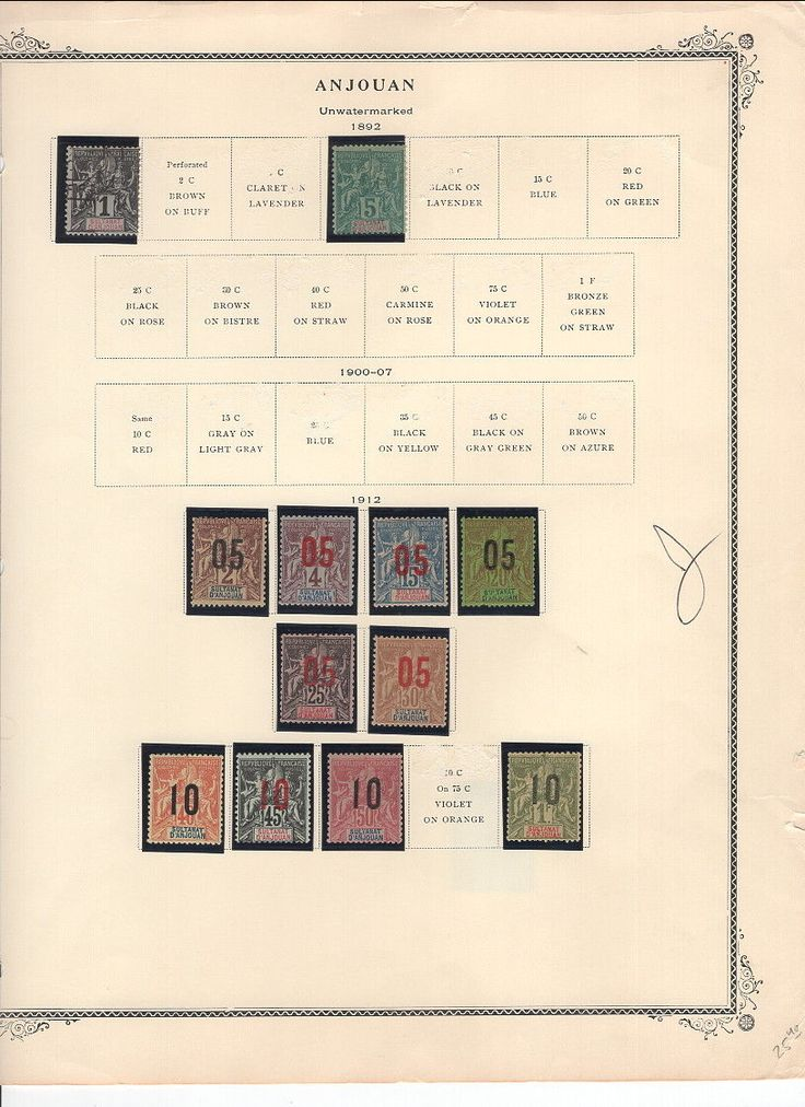 FRENCH ANJOUAN ON SCOTT ALBUM PAGE-1893-1912