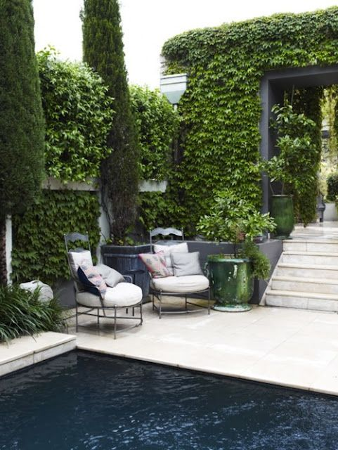 Love the black bottom pool with the contrasting white decking!