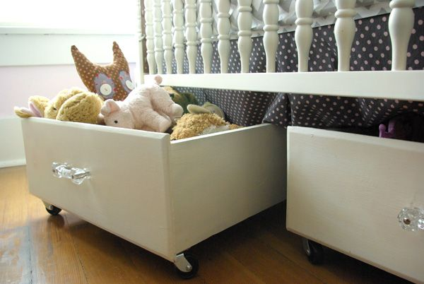Under the bed storage- good for stuffed animals or toys. Thrift drawers plus paint and casters.