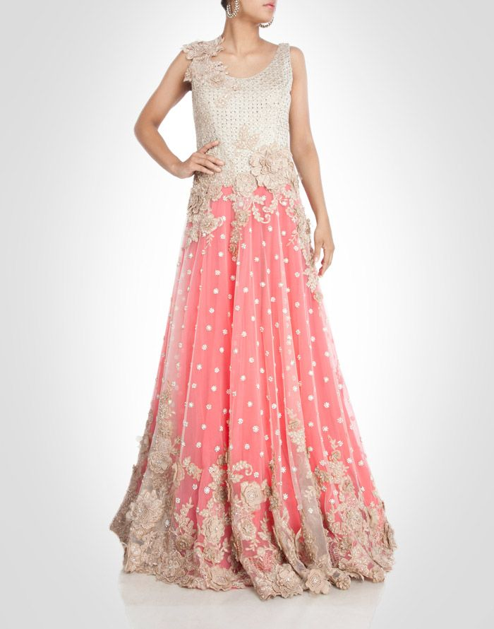 pink tone net gown adorned with gold floral work.  Shop Now: www.kimaya.in, pink designer anarkali dress suit with white embroidery