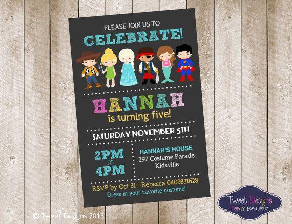 COSTUME PARTY INVITATION, Printable Birthday Invitation, Dress Up Party Girl Invitations, Girl Boy Costume Invitation, Costume Kids Invite