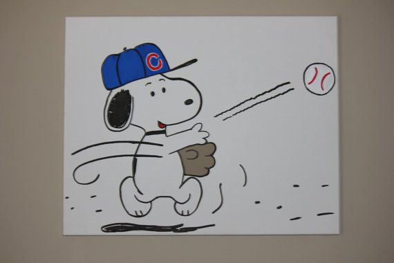 Snoopy Playing Baseball hand painted wall canvas for Nursery or bedroom on Etsy, $50.00