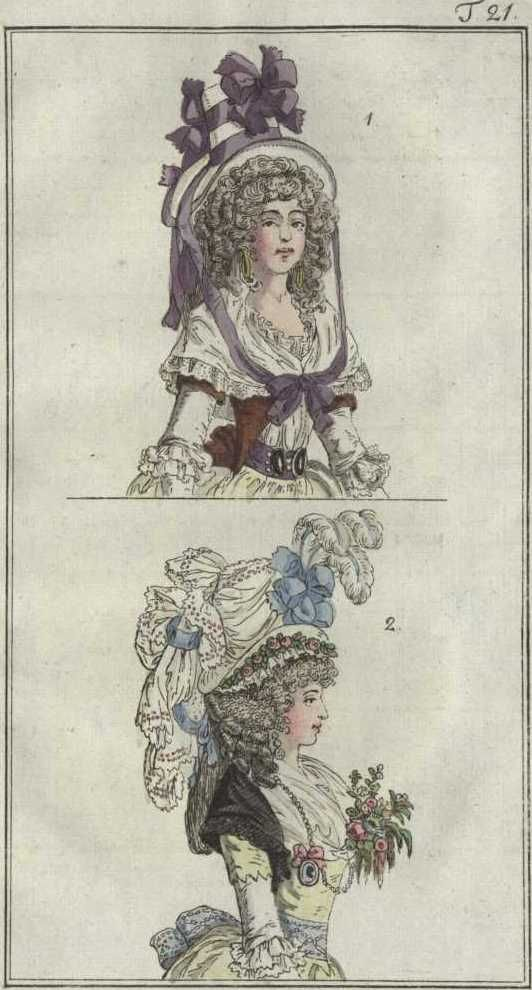 1790.The Journal of Luxury and Fashion was a German fashion magazine, which appeared from 1786 to 1827.  The Journal was the Weimar publisher Friedrich Justin Bertuch in collaboration with the artist Georg Melchior Kraus launched. It appeared monthly in the form of an approximately 30-page loose-leaf and reached about 25,000 readers, making it the first truly popular periodical was the subject of fashion in Germany.