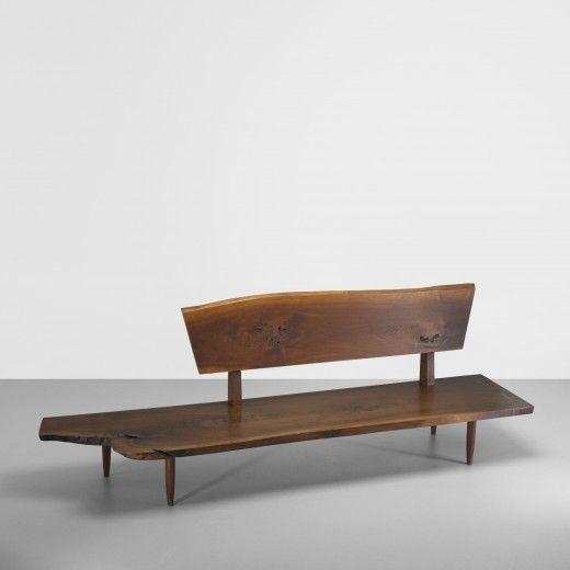 George Nakashima, American Black Walnut Bench, c1975.