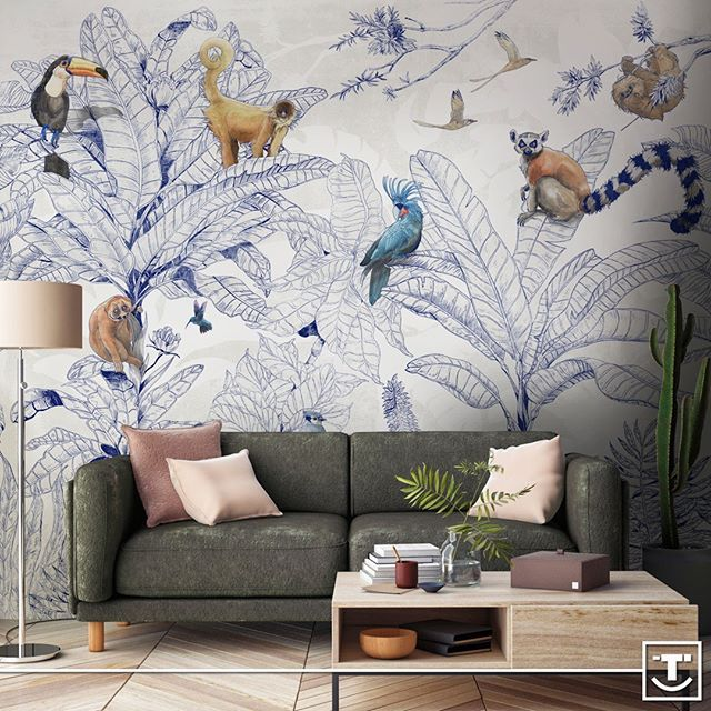 Curious Eyes Are Watching From The Jungle Leaves Jungle Club S Animals Liven Up A New Wallpaper Hand Drawn By Behang Woonkamer Kamer Behang Thuis Behang