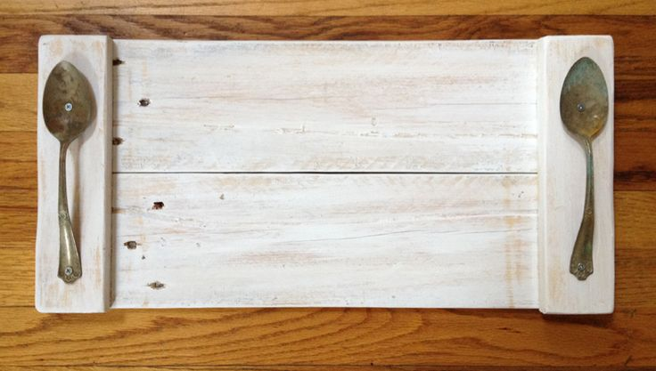 "21"" Pallet Wood Serving Tray with Spoon Handles"