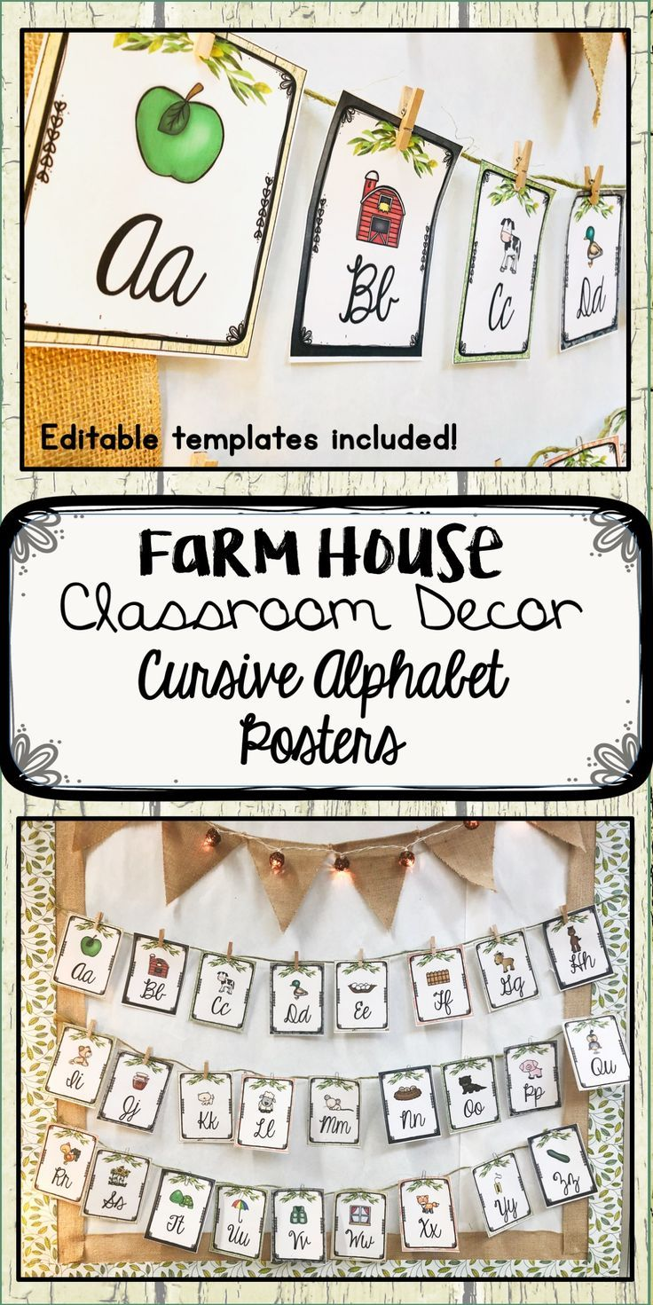 Check Out This Set Of Rustic Farmhouse Alphabet Posters This Cursive Alphabet Chart Is Just One Part Of My F Cursive Alphabet Alphabet Poster Classroom Decor