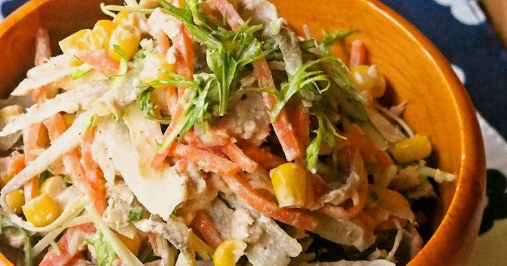 ✿200レポ有難うございます✿ いつもの牛蒡サラダがちょっとお洒落なデリ風に♪栄養もボリュームも満点なご馳走サラダです!