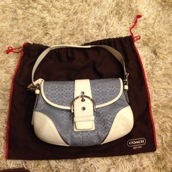 Blue and white shoulder bag Like new with normal wear and tear. No major stains or rips. Firm price Coach Bags Shoulder Bags