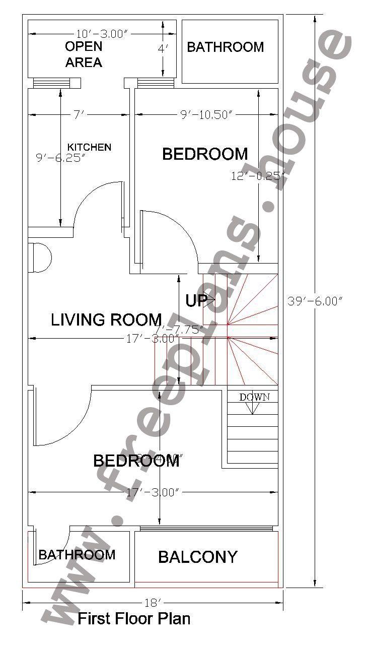 18x36 Feet First Floor Plan,
