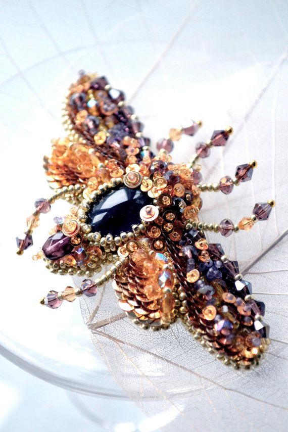 Gift for her insect jewelry plum purple gold by PurePearlBoutique