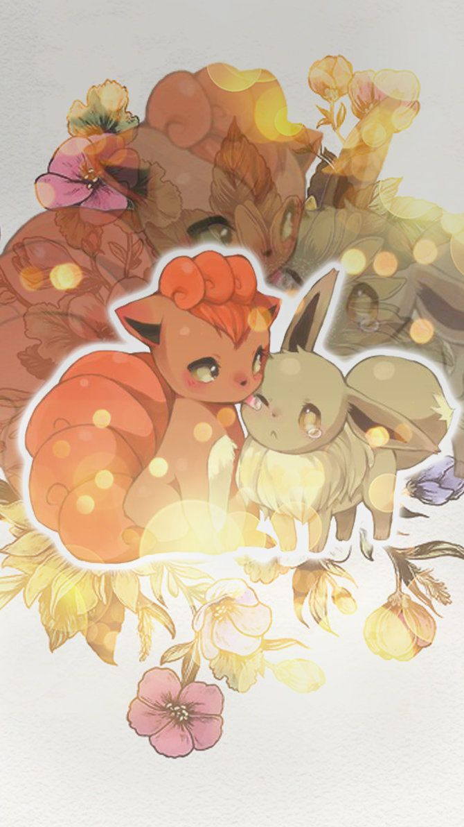 Awesome Art Of Vulpix And Eevee Eevee Wallpaper Cute Pokemon