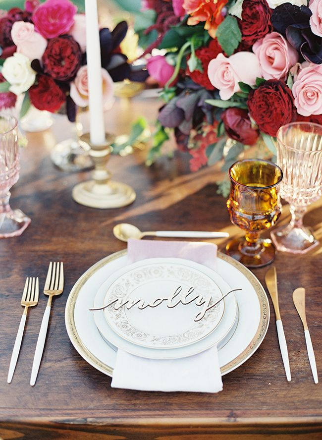 Red & Pink Golden Summer Wedding Inspiration - Inspired by This; wedding reception table; styled shoot by All You Need is Love Events