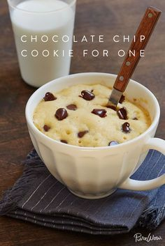 Chocolate-Chip Cookie for One via @PureWow. Sometimes in life, you crave a gooey, warm chocolate-chip cookie. And sometimes you don't want to make an entire batch. (Who needs to be tempted by a dozen or two hanging around, right?) For those times, look no further than our recipe for amicrowavable chocolate-chip cookie for one. Grab a mug and let's bake.