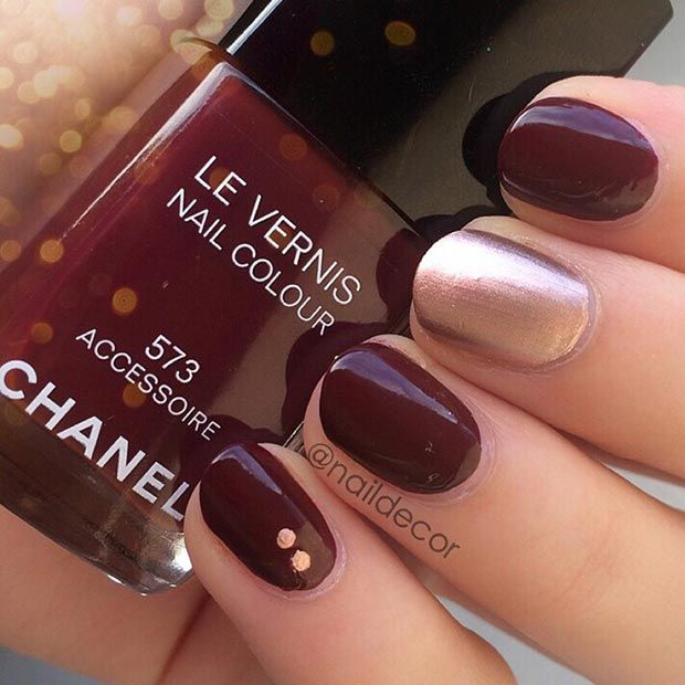 Simple Dark Red and Gold Nail Design for Short Nails