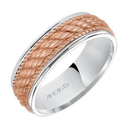 Mens Wedding Band With A Rose Gold Woven Center Motif And Bright Rims In 7mm Width