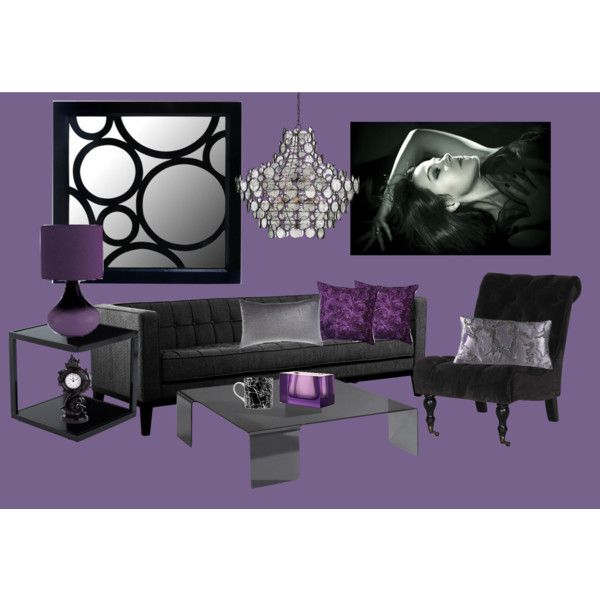 """""""Glam Purple and Black Living Room"""" by espkat on Polyvore"""
