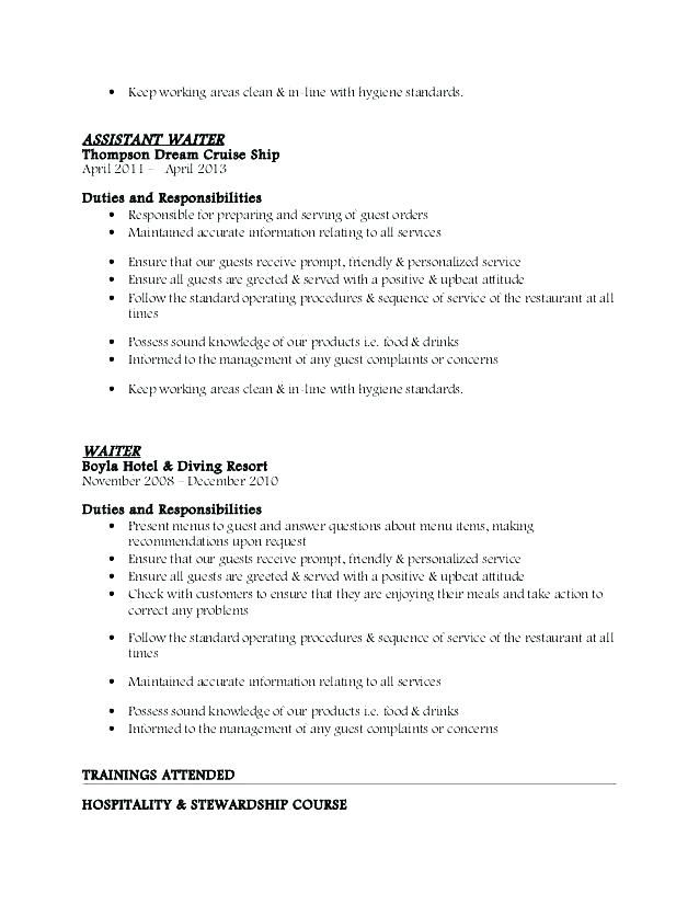 76 beautiful images of resume profile example waitress