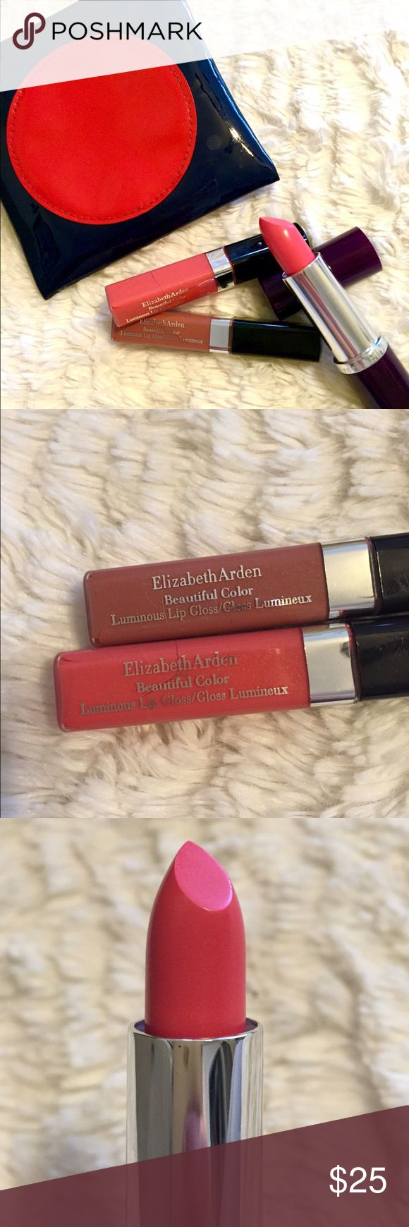 Elizabeth Arden Lip Kit + Estee Lauder Pouch 2 lip glosses and 1 lipstick never been used brand new, plus Estée Lauder pouch to carry it in.  Colors are Rosegold, Sunset, and Pretty Pink.  Great colors for summer!   Elizabeth Arden Makeup Lip Balm & Gloss