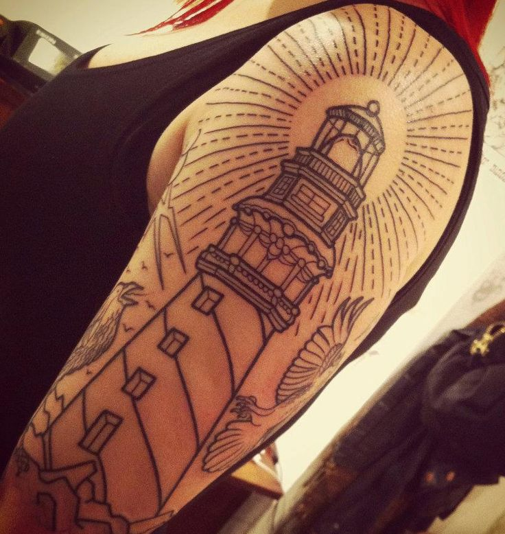 I've always wanted a lighthouse tattoo, but a lot of them seem cartoon-y and too colorful. I like this one, but it's a bit large.