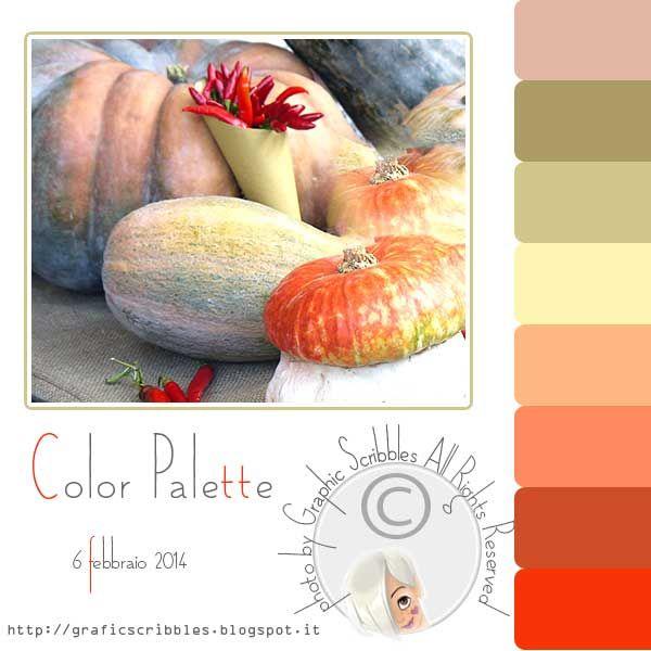 Color palette of 6 febberaio 2014 http://graficscribbles.blogspot.it/2014/02/palette-colori-foto-zucche-arancione-verde.html