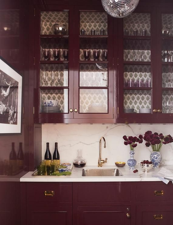 Purple Lacquered Wet Bar Cabinets And Drawers Accented With Vintage Brass Hardware Topped With White Marbl Bars For Home Fine Paints Of Europe Wet Bar Cabinets