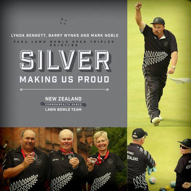 Your Para Lawn Bowls Open Triples B6/B7/B8 SILVER MEDALISTS Lynda Bennett, Barry Wynks and Mark Noble!  #makingusproud #NZ2014 #Glasgow2014