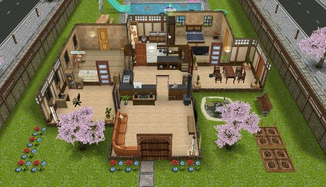 Sims freeplay modified Japanese house Much bigger Sims