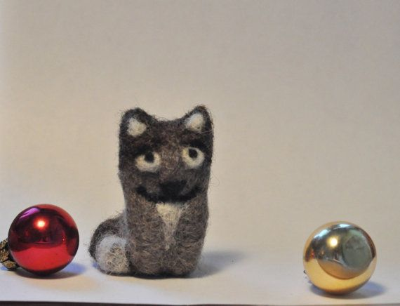 Wool Felted Grey Cat by vusova on Etsy