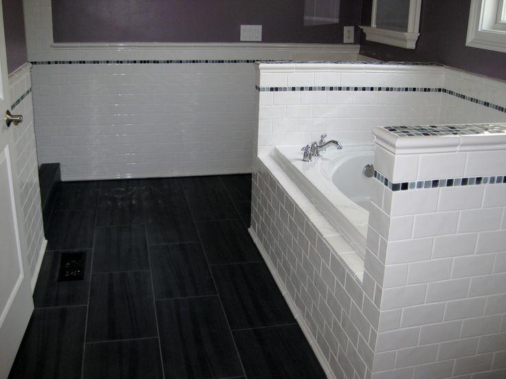 hairy black and white tile bathroom for wall added floors designs simply white subway tile bath panels on black ceramic floor tile in balck