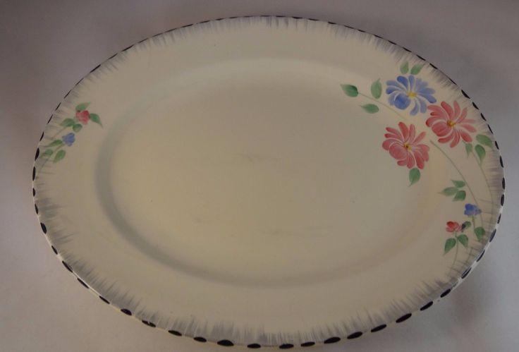 "Burleigh Ware 11"" Blue Pink Floral Art Deco Asters Meat Serving Plate Platter VGC eBay Sep 2017 GBP3.50 BIN"