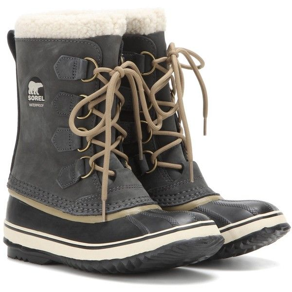 Sorel 1964 Pac 2 Leather and Rubber Boots ($140) ❤ liked on Polyvore featuring shoes, boots, grey, rubber boots, lined boots, wellington boots, grey rain boots and gray boots