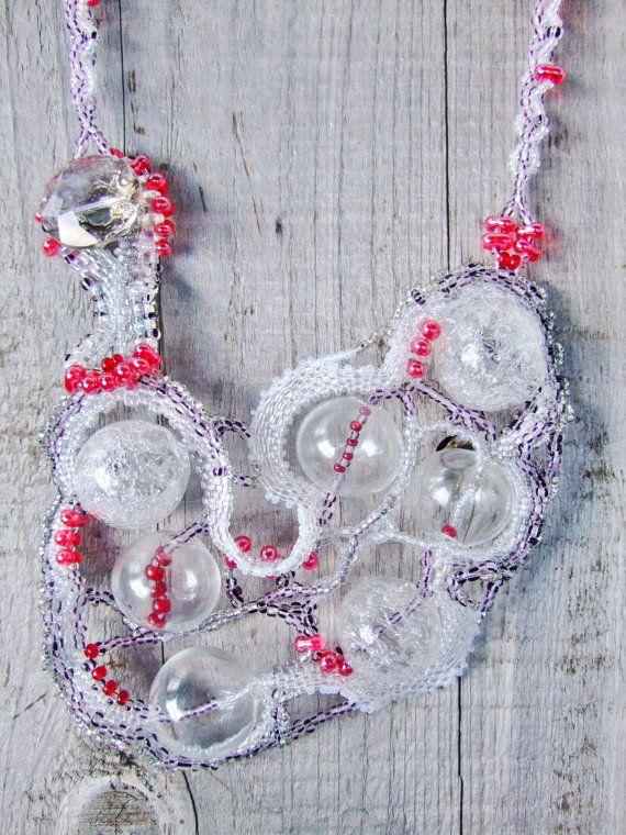 Birch Berries Freeform Beadwork Necklace with by PhantasmCreates