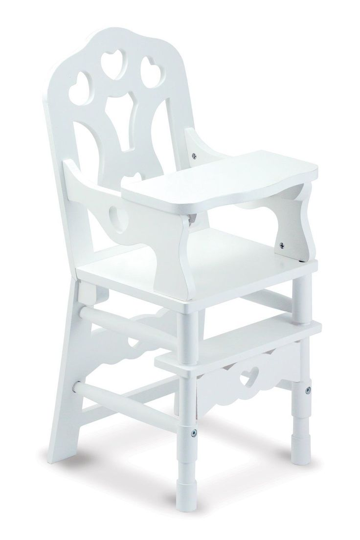 Melissa & Doug White Wooden Doll High Chair With Tray (14.75 x 25 x 14 inches)