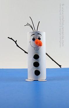 Cardboard Tube Olaf: Snowman from Frozen by Amanda Formaro of Crafts by Amanda #Frozen #Crafts #Kids