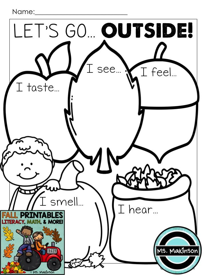 "Five Sense printable ""Let's Go Outside!"". Take students outside and allow them to observe, then record their observations on the paper."