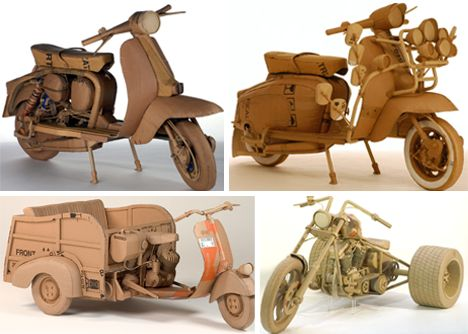 Out-of-the-Box Sculptures: 5 Amazing Cardboard Artists  Motorcycles by Chris Gilmour http://www.chrisgilmour.com/en.opere.html