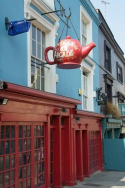 The Red Teapot is a well-known antique store on Portobello Road in West London.