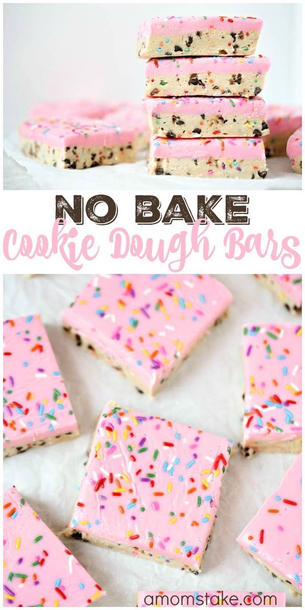 So delicious, these no bake cookie dough bars are easy to make and no baking required! You'll love this easy cookie bar dessert with sprinkles! via @amomstake(Baking Sweet Treats)