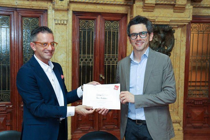 Juri Michelucci, consigliere regionale con Giuseppe D'Urso stilista dell'omonimo atelier spezzino. Foto: Paolo De Ferrari - Genova