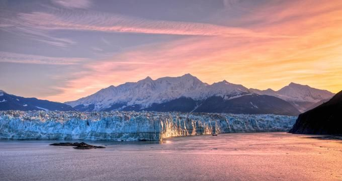 Hubbard Glacier at Sunset --- one of the 21 Most Beautiful Romantic Places to Visit in Alaska | VacationIdea