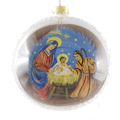 "Nativity At Night Glass Ball Religious Christmas Ornament: ""Nativity Scene"" Reverse Hand Painted Christmas Ball. Mad"