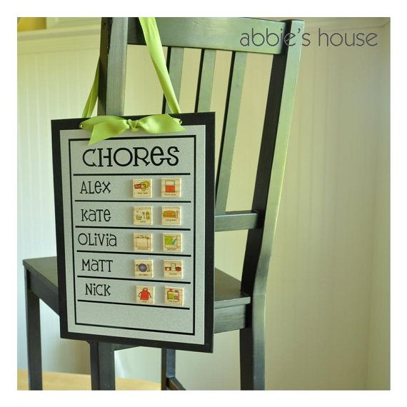Family Chore Chart and Magnet Set Combination by AbbiesHouse