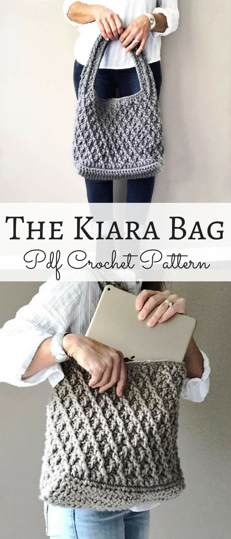 The Kiara bag crochet pattern. I can totally see myself wearing this to the office. #crochetbag #ad #officebag