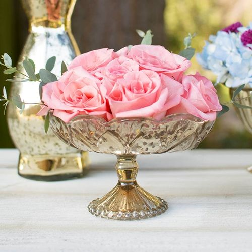 Mercury glass compote with pedestal base  in