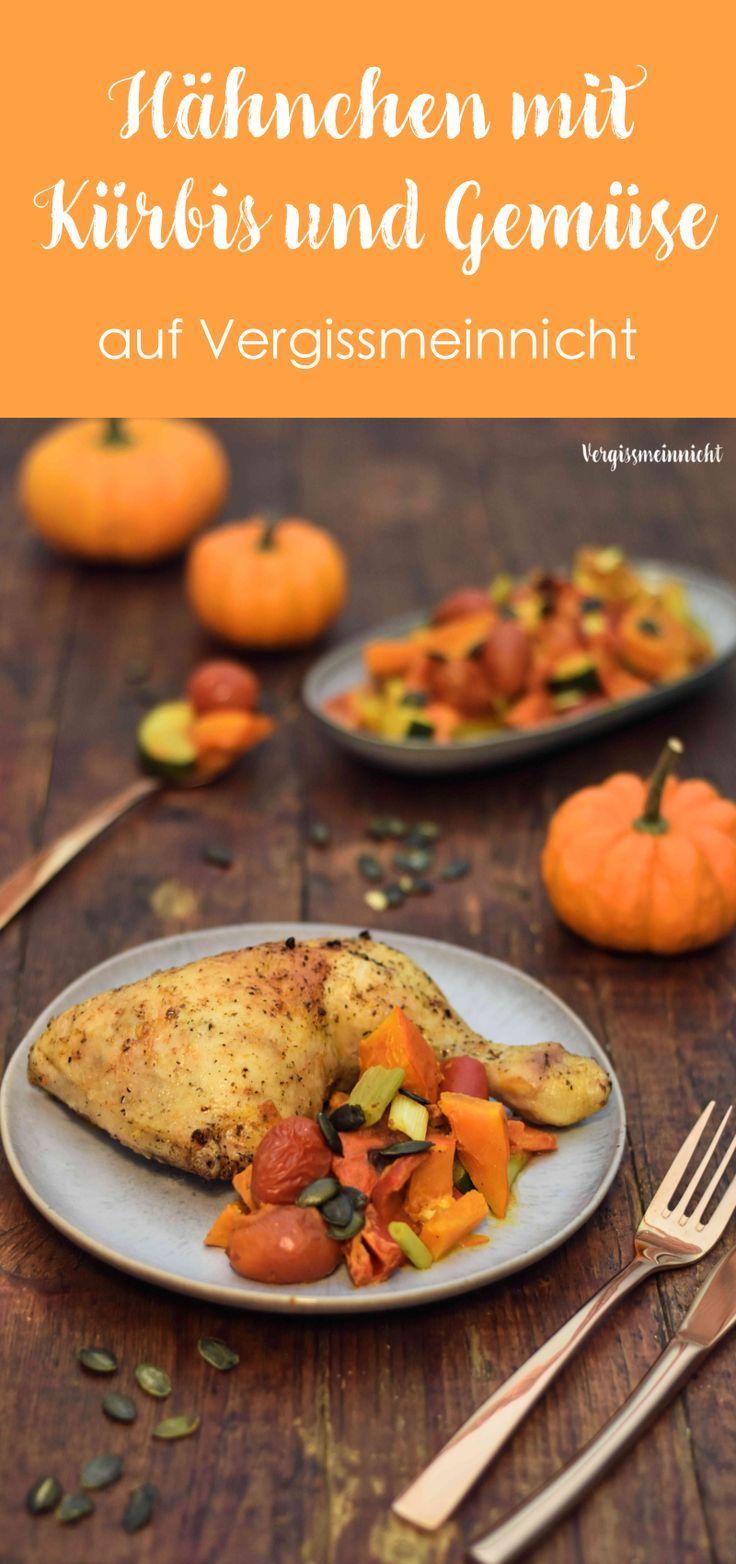 Ein leckeres Hähnchen mit Kürbis und Gemüse Rezept aus dem Ofen. Es ist sehr einfach und schnell zubereitet.